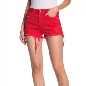 GRLFRND Cindy High Waist Jean Shorts Red